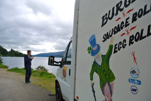Stopping for lunch at the Burger Queen food truck on Loch Lochy