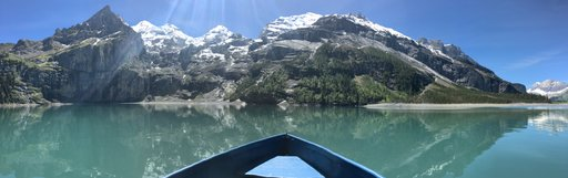 On a boat in the middle of Oeschinensee