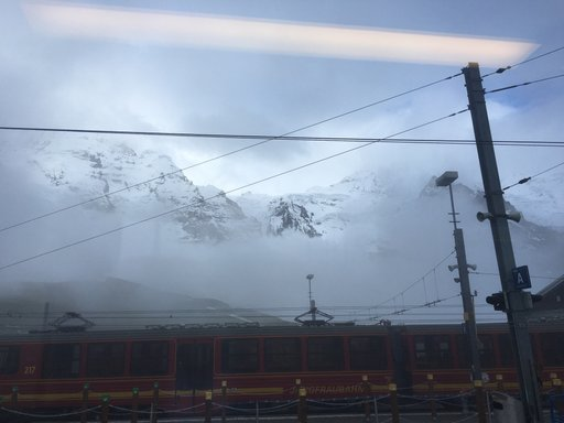 Trains at the base of Jungfrau
